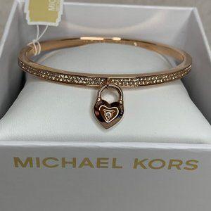 NWT- Michael Kors Rose Gold Heart-Padlock Bangle